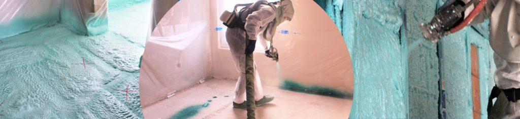Projection de l'isolant : la mousse de polyuréthane